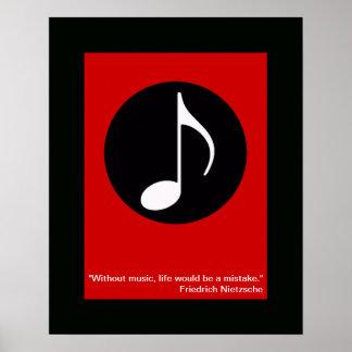 impresión fresca de la nota de la música para la p poster