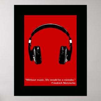 impresión fresca de los auriculares para la pared póster