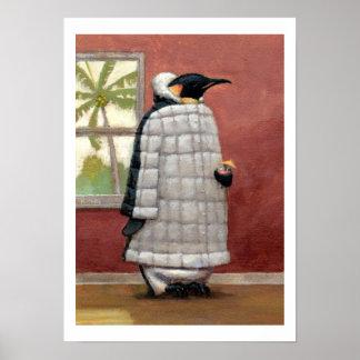 Impresión fresca del pingüino poster
