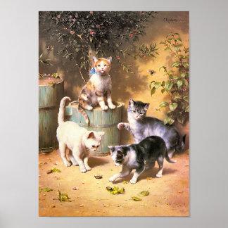 Impresión Gatitos que juegan con los escarabajos Impresiones