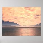 Impresión generativa del arte de la puesta del sol posters