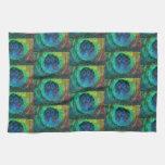 Impresión geométrica de la pluma del pavo real toalla de cocina