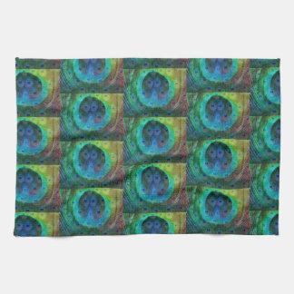 Impresión geométrica de la pluma del pavo real toallas de mano