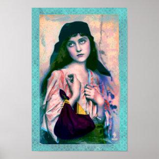Impresión gitana bohemia del chica póster