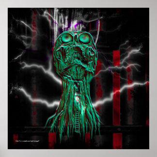 Impresión gótica del Grunge del grito cibernético Póster