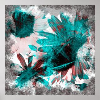 Impresión gótica negativa cepillada de las flores póster
