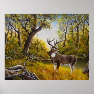 Impresión grande de los ciervos del papá póster