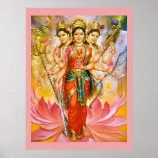 Impresión grande hindú de la lona de tres diosas póster