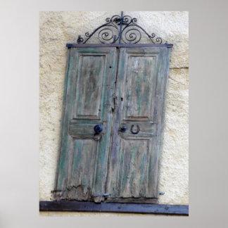 Impresión griega de la puerta póster