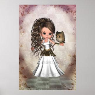 Impresión griega hermosa de la diosa de Kawaii Ath Posters
