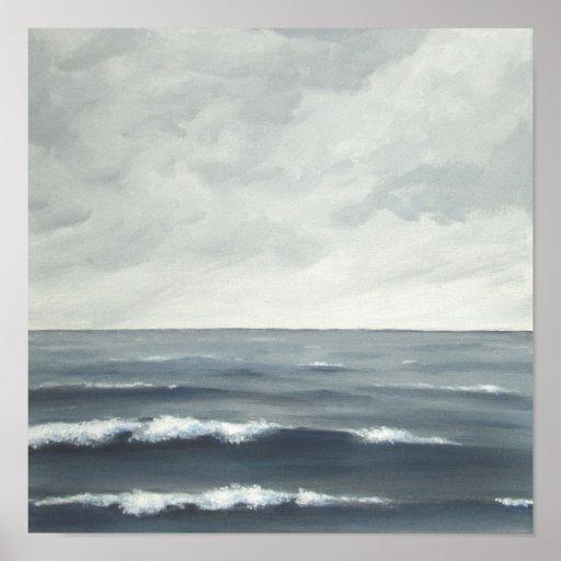 Impresión gris de la bella arte de las olas oceáni impresiones