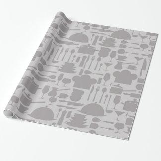 Impresión gris del artilugio de la cocina papel de regalo