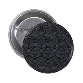 Impresión gris negra del damasco pin redondo de 2 pulgadas