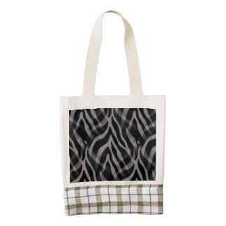 Impresión gris neutral elegante de las rayas de la bolsa tote zazzle HEART