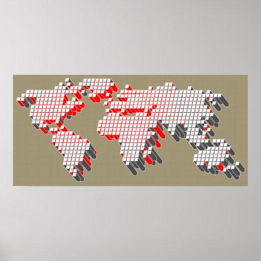 Impresión gris roja moderna del poster del mapa de