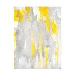 Impresión gris y amarilla de la lona de arte abstr lona envuelta para galerias