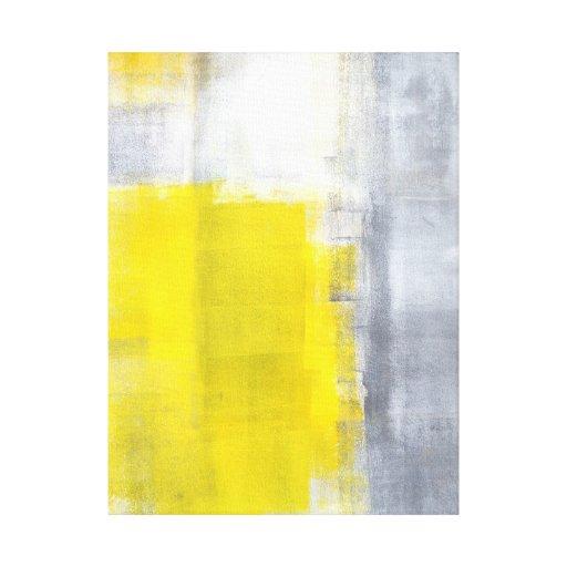 Impresión gris y amarilla de la lona de arte abstr lienzo envuelto para galerías