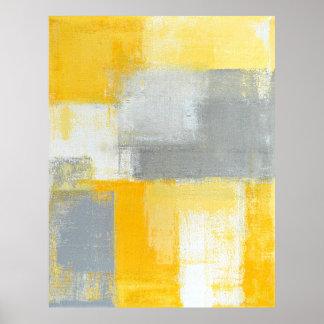 Impresión gris y amarilla del poster del arte