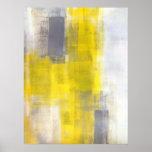 Impresión gris y amarilla del poster del arte abst