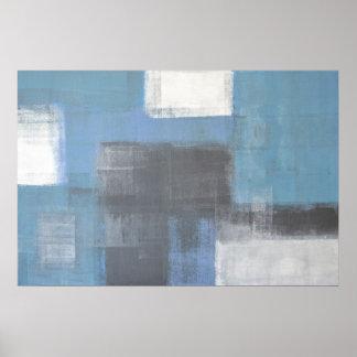 Impresión gris y azul del poster del arte abstract