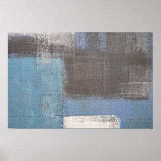"""Impresión gris y azul """"tropezada"""" del poster del"""