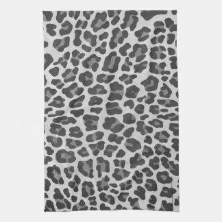 Impresión gris y gris clara del leopardo toallas de mano