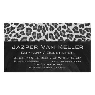 Impresión gris y gris clara del leopardo tarjetas de visita