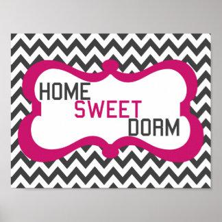 Impresión gris y rosada del dormitorio dulce caser póster