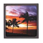Impresión hawaiana de la puesta del sol caja de recuerdo de calidad