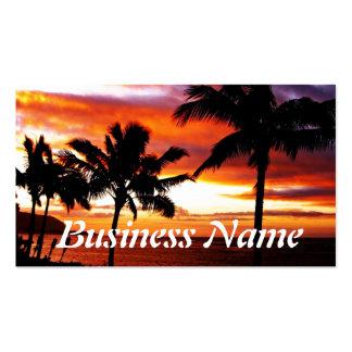 Impresión hawaiana de la puesta del sol tarjetas de visita
