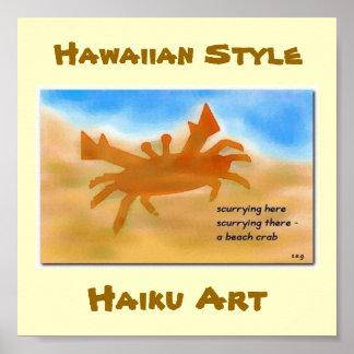 Impresión hawaiana del arte del Haiku de Beachcrab Poster