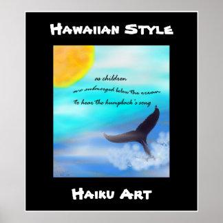 Impresión hawaiana del arte del Haiku de la ballen Posters