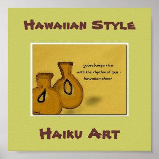 Impresión hawaiana del arte del Haiku del canto h Posters
