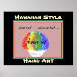 Impresión hawaiana del arte del Haiku del estilo d Poster