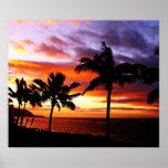 Impresión hawaiana del poster de la puesta del sol