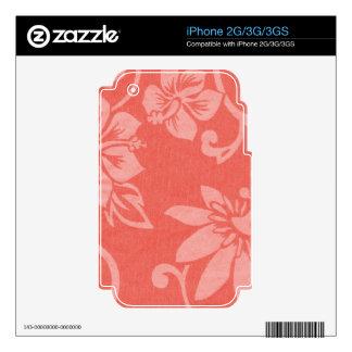 Impresión hawaiana roja iPhone 3 calcomanías