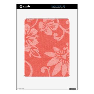 Impresión hawaiana roja iPad skins