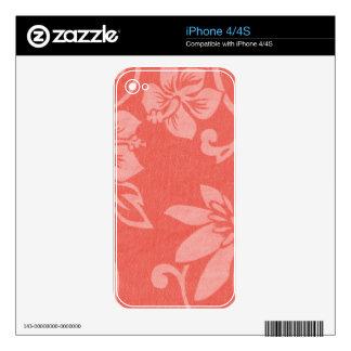 Impresión hawaiana roja skin para el iPhone 4S