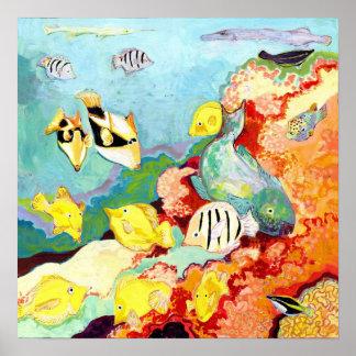 Impresión hawaiana tropical del poster de los pesc