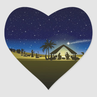 impresión hermosa de la imagen de la natividad del pegatina en forma de corazón