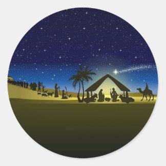 impresión hermosa de la imagen de la natividad del pegatina redonda