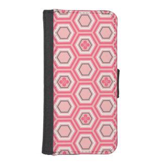 Impresión hexagonal del kimono, rosado coralino y funda tipo billetera para iPhone 5