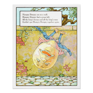 Impresión Humpty Dumpty del cuarto de niños del vi Póster