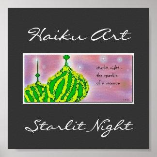Impresión iluminada de la noche poster