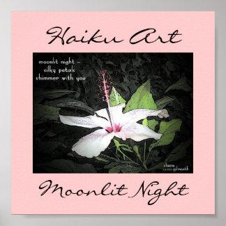 Impresión iluminada por la luna del arte del Haiku Póster