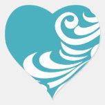 Impresión imponente de la silueta de la pluma del  pegatina de corazón