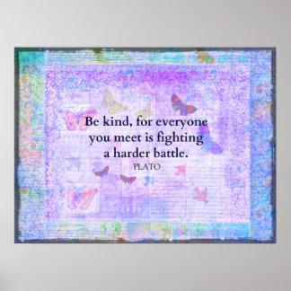 Impresión inspirada de la cita de la compasión de  póster