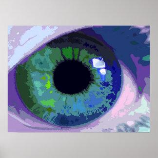 Impresión intensa del extracto del ojo azul póster