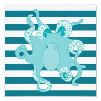 Impresión intrépida azul de la foto de las rayas cojinete