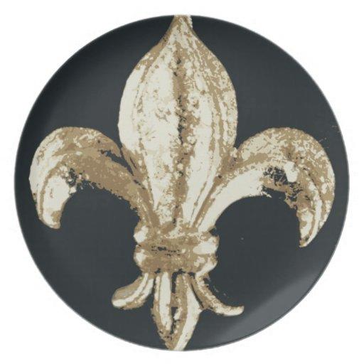 """Impresión intrépida de la """"flor de lis"""" del oro platos de comidas"""